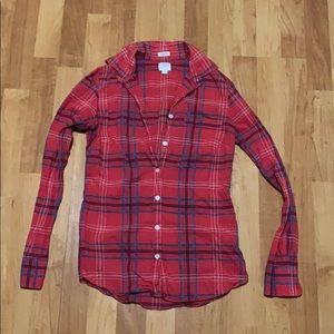 J Crew perfect fit size XXS cotton plaid shirt.